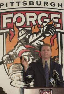 Pittsburgh Forge general manager Kevin Constantine discusses the new Junior A Hockey team during a press conference on February 15, 2001 at the Island Sports Center. The Forge will play in the North American Hockey League.