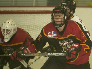 Defenseman Dylan Reese works in front of the Pittsburgh Forge goal Monday January 21, 2002 during a game against Cleveland at the Island Sports Center. CAH-REESE1-24 (TRIB SOUTH SPORTS)